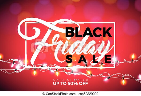 Black friday sale vector illustration with lighting garland on