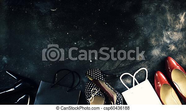 Black friday sale word on lightbox on dark table top view - csp60436188