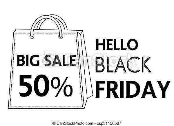 Black Friday shopping bag and sales - csp31150507