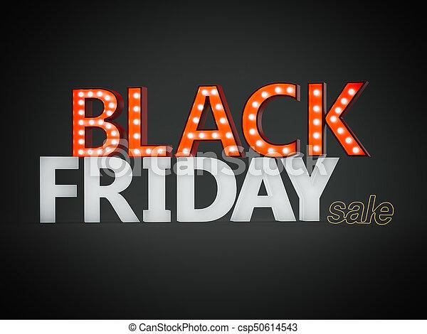 Black friday sign. 3d rendering - csp50614543