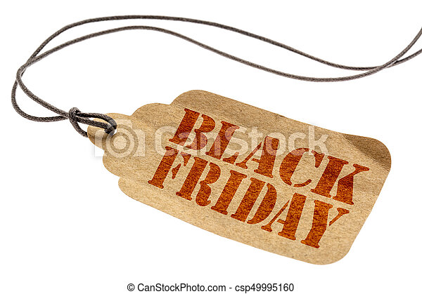 Black Friday sign on paper price tag - csp49995160