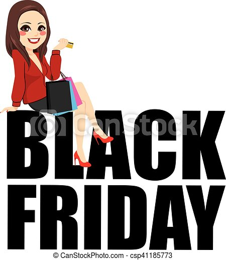 black friday sitting woman text beautiful young brunette vectors rh canstockphoto com black friday 2017 clip art black friday clip art images