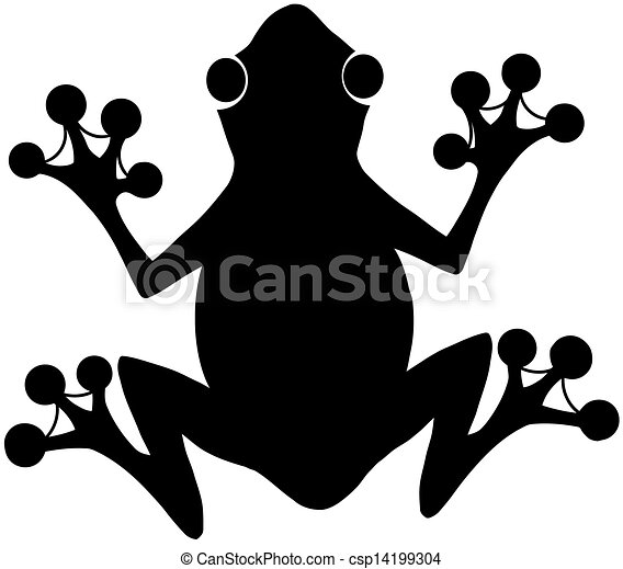 Black Frog Silhouette Logo - csp14199304