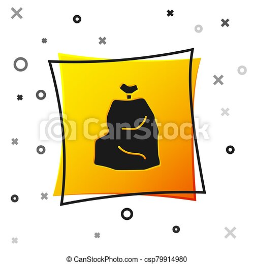 Black Garbage bag icon isolated on white background. Yellow square button. Vector Illustration - csp79914980