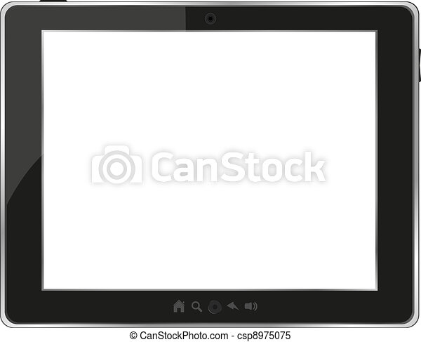 Black generic tablet pc on white background - csp8975075