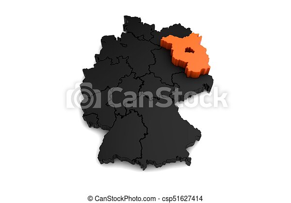 Black germany map with brandenburg region highlighted in