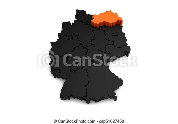 Black germany map with mecklenburgvorpommern region stock