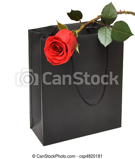 black gift bag with red rose - csp4820181