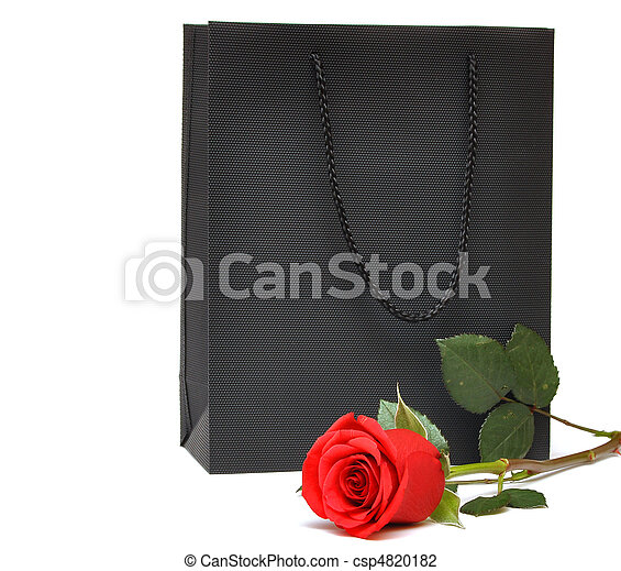 black gift bag with red rose - csp4820182