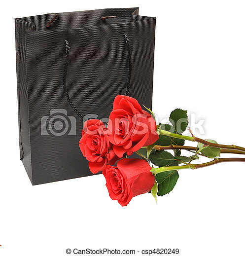 black gift bag with red rose - csp4820249