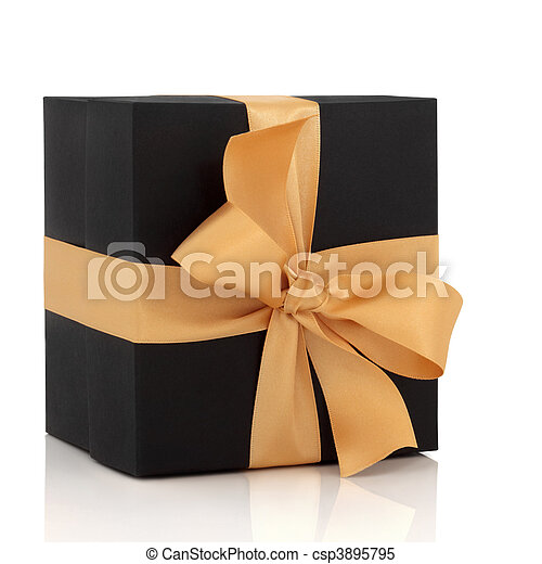 Black Gift Box with Gold Bow - csp3895795