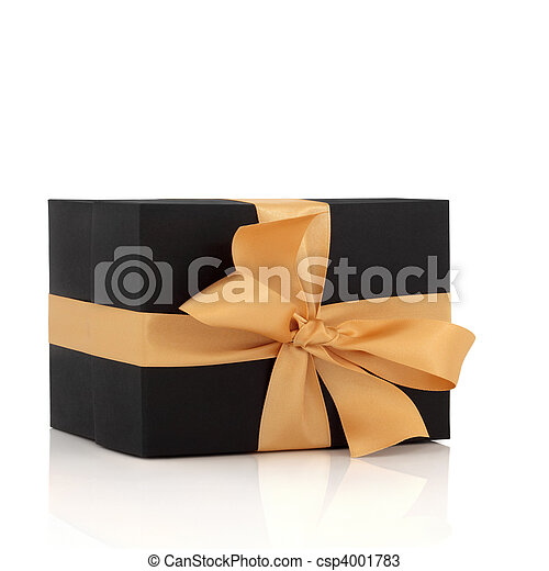 Black Gift Box with Gold Bow - csp4001783