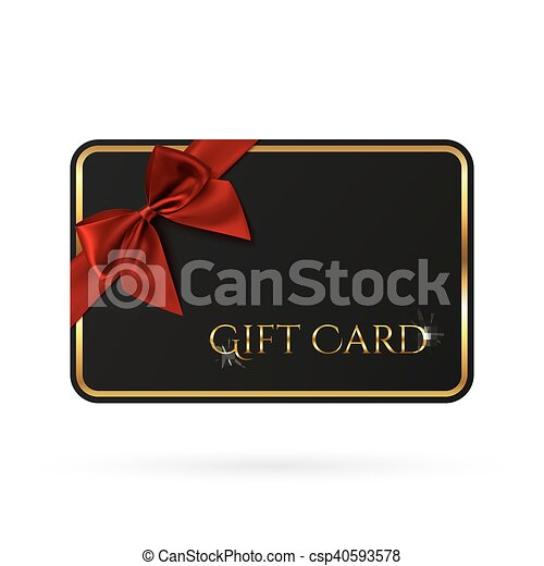 Black Gift Card Template With Red Ribbon And A Bow Vector