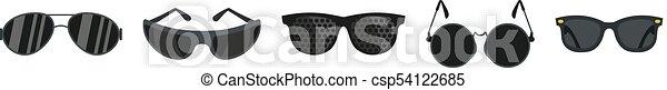 Black glasses icon set, flat style - csp54122685