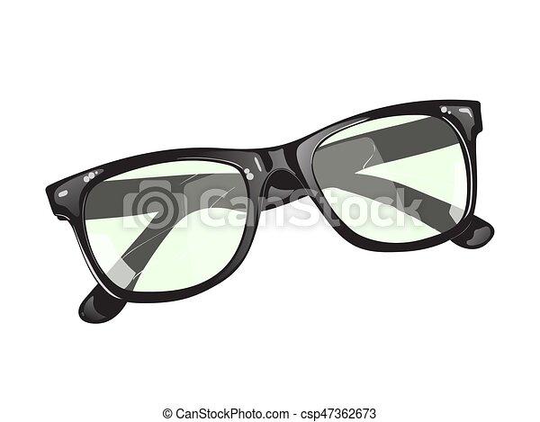 Black glasses on a white background - csp47362673