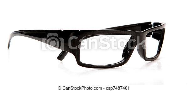 black glasses on a white background - csp7487401