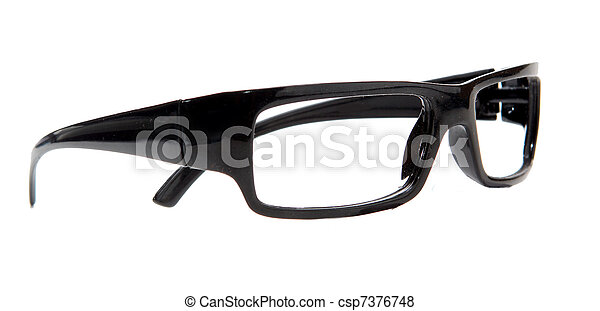 black glasses on a white background - csp7376748