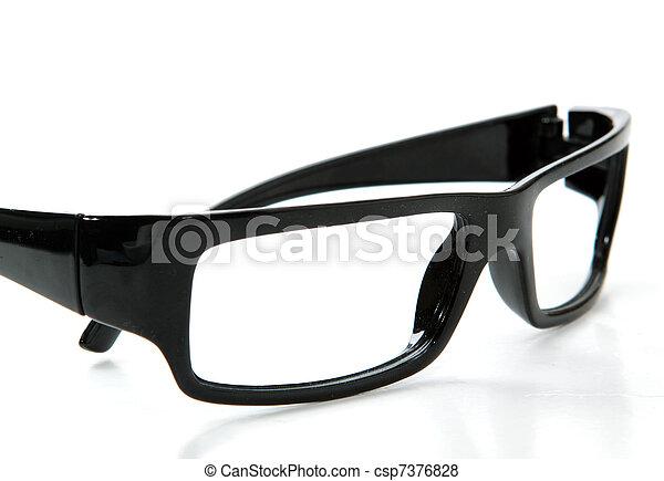 black glasses on a white background - csp7376828