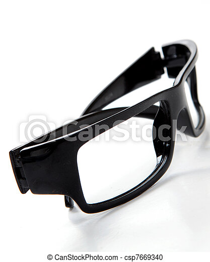 black glasses on a white background - csp7669340