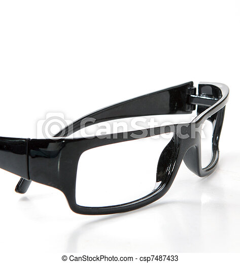 black glasses on a white background - csp7487433