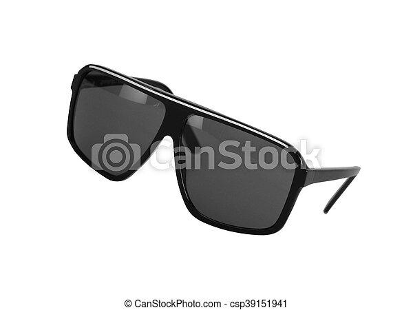 Black glasses over white background - csp39151941