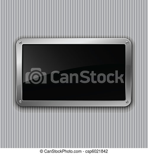 Black glossy plate. Vector illustration. Eps10 - csp6021842