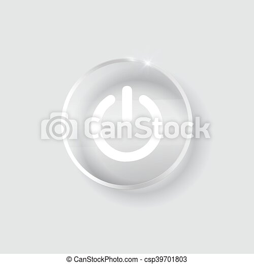 black glossy power button transparent - csp39701803