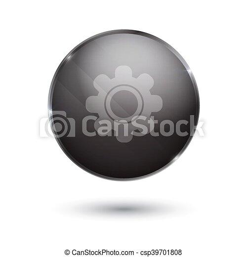 black glossy Setting icon button - csp39701808