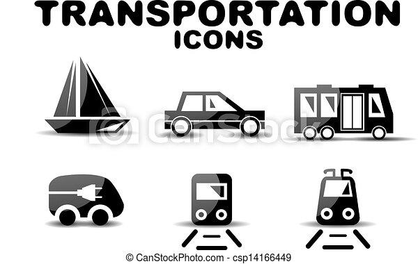 Black glossy transportation icon set - csp14166449