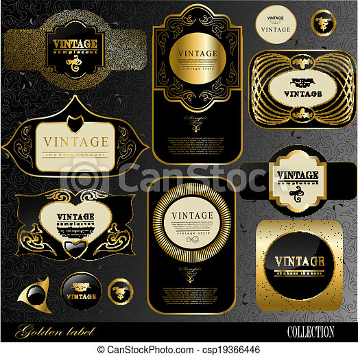 Black gold labels retro black gold labelcan be used for invitation black gold labels csp19366446 stopboris Image collections