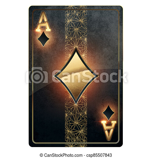 Black Gold Poker Playing Card Ace Of Diamonds Isolated On White Background Design Template Casino Concept Gambling Header Canstock