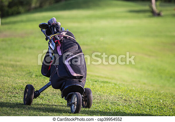 Black golf clubs drivers on green field - csp39954552