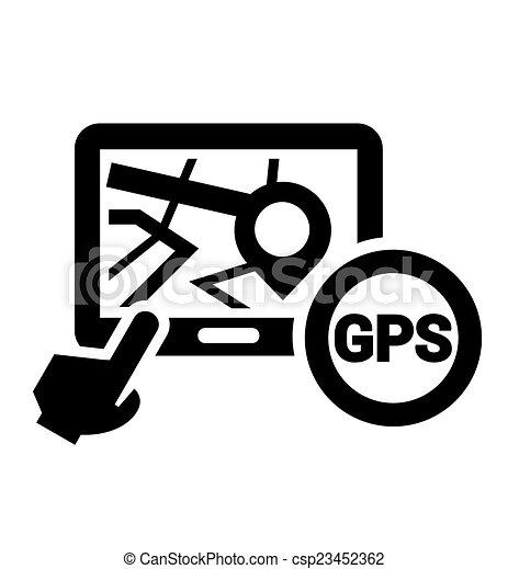 black gps icon black elegant navigation icon on white clip art rh canstockphoto com GPS Cartoon gps antenna clip art
