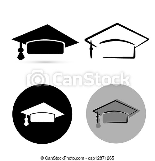 black graduate hat isolated over white background. vector - csp12871265