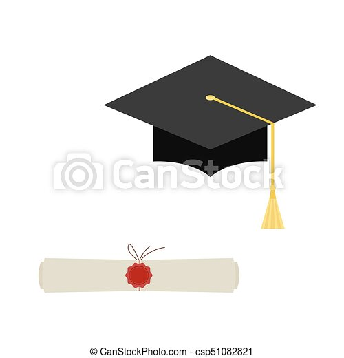 Black  graduation cap and diploma scroll web  icon  isolated on  white  background. - csp51082821