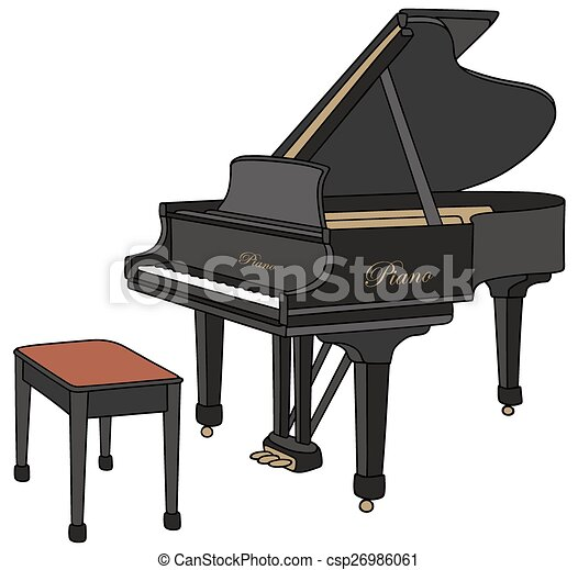 Black Grand Piano Hand Drawing Of A Opened