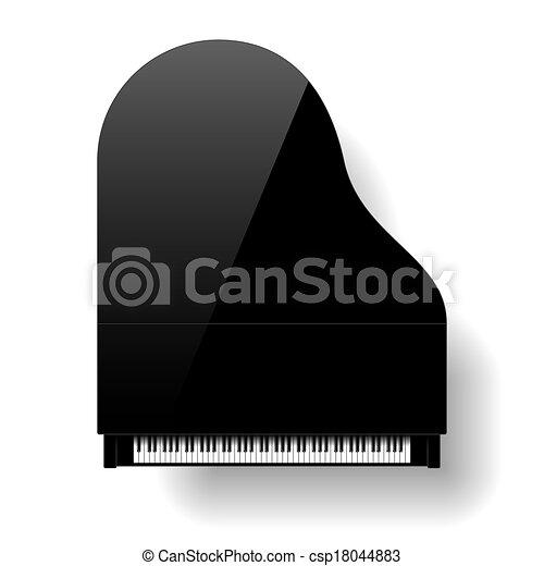 Black grand piano top view - csp18044883