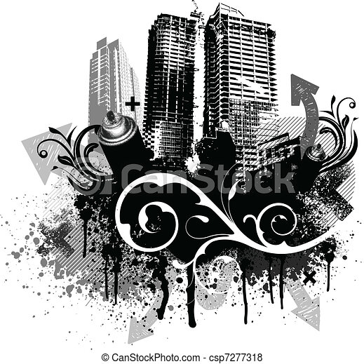 Black grunge city - csp7277318