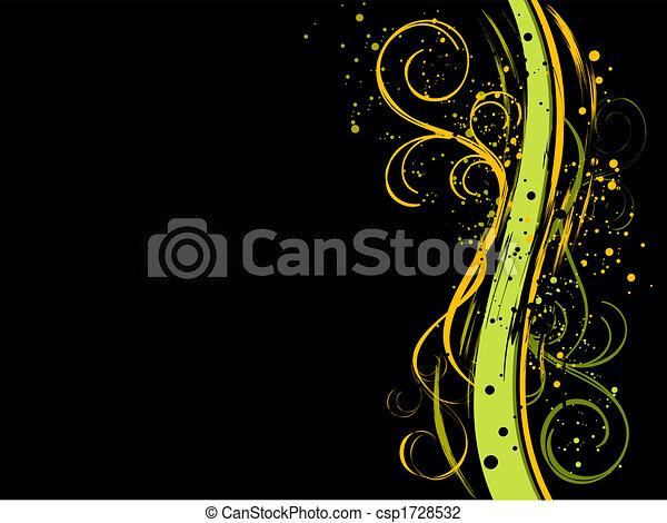 Black grunge floral background - csp1728532