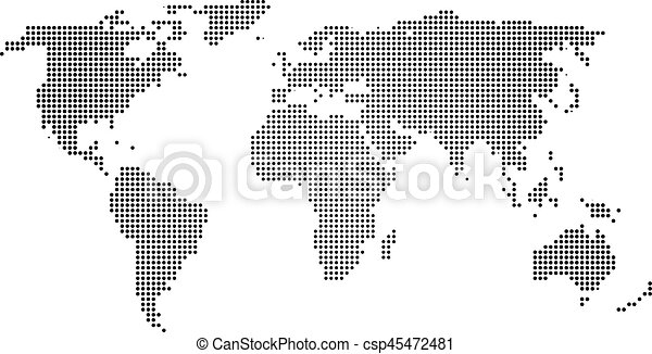 Black halftone world map of small dots in linear arrangement simple black halftone world map of small dots in linear arrangement simple flat vector illustration on white background gumiabroncs Image collections
