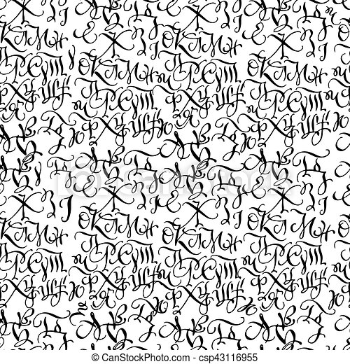 Black hand drawn high quality calligraphy pattern with letters - csp43116955