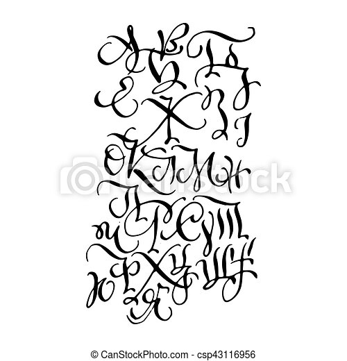 Black hand drawn high quality calligraphy poster with letters - csp43116956