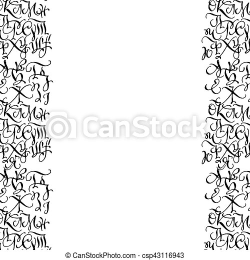 Black hand drawn high quality calligraphy borders with letters - csp43116943