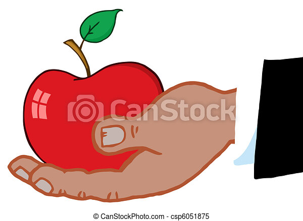 Black Hand Holding A Red Apple - csp6051875