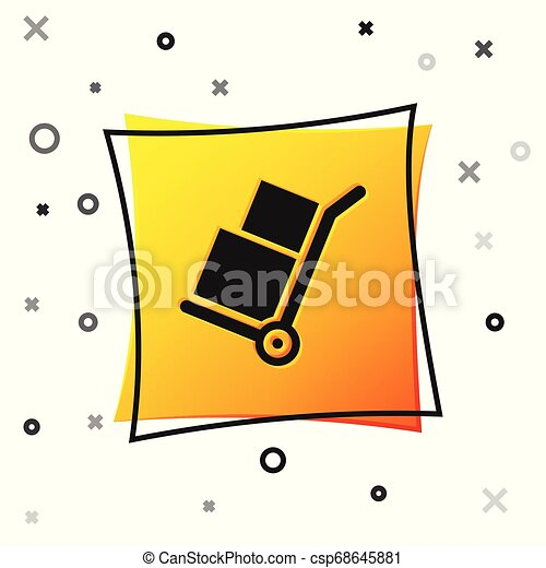 Black Hand truck and boxes icon isolated on white background. Dolly symbol. Yellow square button. Vector Illustration - csp68645881