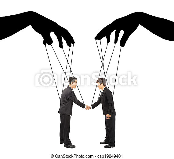 black hands shadow control two businessman actions - csp19249401