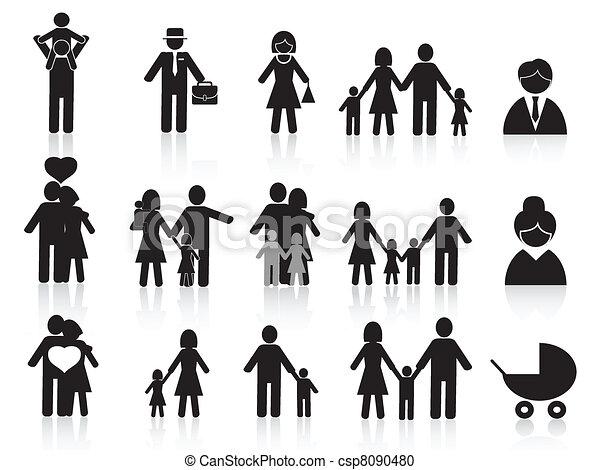 black happy family icons set - csp8090480