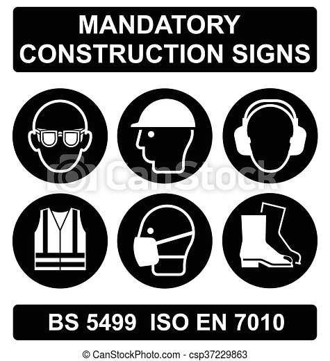 Black Health and Safety Signs - csp37229863