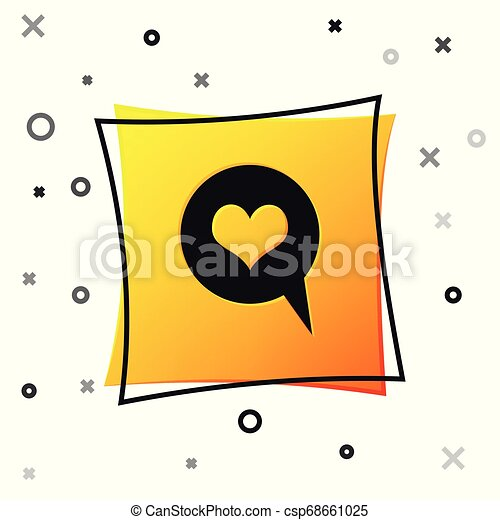 Black Heart in speech bubble icon isolated on white background. Heart shape in message bubble. Love sign. Valentines day symbol. Yellow square button. Vector Illustration - csp68661025