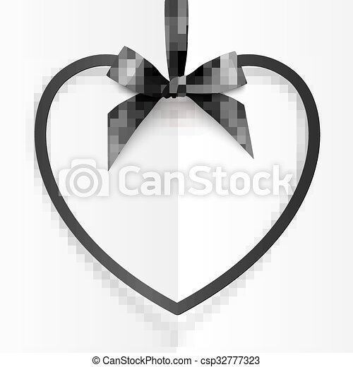 Black heart shape frame hanging on silky ribbon with bow at white folded background - csp32777323